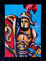 """Original art by Bastet """"Gladiator"""" OOAK hand painted ACEO"""