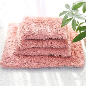 Calming Pet Bed Cushion Fluffy Plush Dog Bed Cat Mat Soft Cushion Grey Pink S-XL