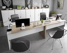 Pack muebles despacho moderno 5 armarios 2 mesas escritorio color blanco y roble