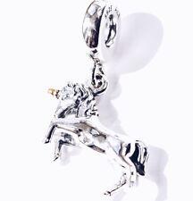 Genuine Pandora Silver 14ct Gold Unicorn Horse Dangle Pendant Charm S925 ALE