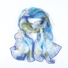 Long Silk  Scarf Blue Theme Floral Print