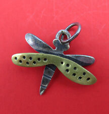 Vintage Far Fetched Sterling Silver Bracelet Charm Dragonfly Pendant 201g