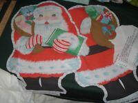 Vtg 80s Santa Doll Bear Elephant Toy Fabric Sew Stuff Fabric Panel Cut Out #WD