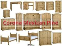 Corona Solid Mexican Pine Waxed Bedroom Furniture Sets Wardrobe Chest Bedside