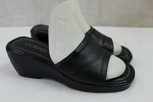 CONNIE womens slip on wedge slides size 8 m leather upper black great condition