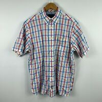 Gazman Mens Button Up Shirt Size Large Multicoloured Plaid Short Sleeve Collared
