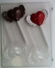 HEART WITH WINGS LOLLIPOP CLEAR PLASTIC CHOCOLATE CANDY MOLD V167