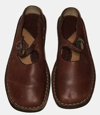 Born Womans Flats Sz 9 40.5 M/W Brown Leather Square Toe Mary Jane Buckle Mules