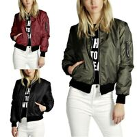 Women's Classic Casual Bomber Jacket Vintage Zip Up Biker Outerwear Coat Jacket