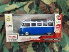 "Maisto Tech R/C 1:24 Volkswagen Van ""Samba"" Remote Control Car Blue/White Bus"