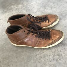 Bull Boxer Mens Brown Leather High Top Sneakers Shoes Bullboxer Size 9 M / 9M