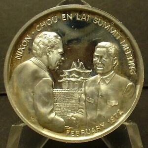 Rare Scarce Sterling Silver 1972 China Chou En Lai & Richard Nixon Summit Medal