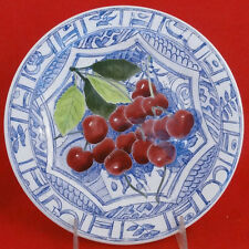 "Oiseaux Bleu GIEN Fruit Dessert/Salad Plates 8.75"" CHERRY NEW NEVER USED France"