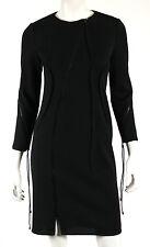 RALPH RUCCI Black Wool Knit Diagonal Zip Seamed Sheath Dress 4