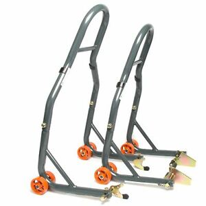 MPW Race Dept Motorcycle Front and Rear Paddock Stand with V-Adapter Combo Pack