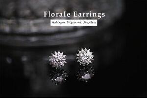 Moissanite Diamond 925 Sterling Silver Flower Stud Earrings