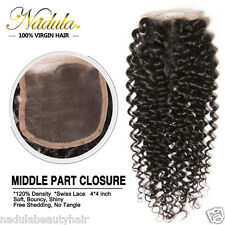 """10""""-20"""" Virgin 7A Brazilian Lace Closure Curly Hair 4*4 Free/Middle/Three Part"""