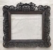 More details for ornate antique 19th century chinese qing carved wooden picture frame, a.f