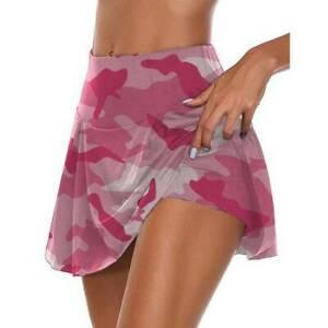 Summer Women Swing Camo Print Sport Skorts Yoga Gym High Waist Shorts Mini Skirt