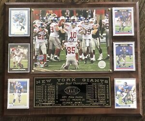 """New York Giants Super Bowl XLII Champions Framed Photos Plaque w Cards 18 x 15"""""""