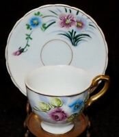 VINTAGE DEMITASSE FOOTED HAND PAINTED CUP & SAUCER CABBAGE ROSES