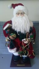 "Grandeur Noel 16"" Fabric Santa Collector's Edition, 2000 W/Box EUC"