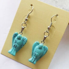 SA3913 1 Pair of Carved blue Turquoise & Silver-plated Earrings