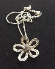 "Silver Plated Flower Pendant Rhinestone Center 16"" Silver Plated Chain Necklace"