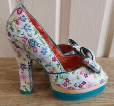 IRREGULAR CHOICE WHITNEY BOW PEEP FLORAL HIGH HEELS, SIZE 6 WITH BOX VGC