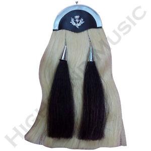 New HM White Horse Hair Sporran Celtic Cantle/Kilt Sporran White Horse Hairs