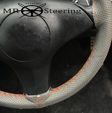 FOR VOLVO P122 S GREY PERFORATED LEATHER STEERING WHEEL COVER ORANGE DOUBLE STCH