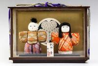 "Japanese Vintage KIMEKOMI Hina Doll 3"" Kimono Traditional Crafts W/Case #23390"