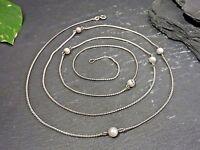 Vintage 925 Silber Kette Perlen Vergoldet Elegant Lang XXL Jugendstil Art Deco