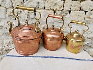 Set of 3 ANTIQUE French Kettles !