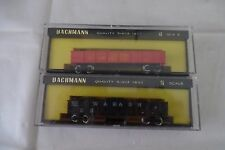 BACHMANN LOT of 2, WABASH & UNION PACIFIC 42' GONDOLAS WITH COAL LOADS, N Scale