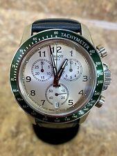 *Tissot V8 T106417A Chronograph Black Leather Band Ivory Dial Men's Watch BIN