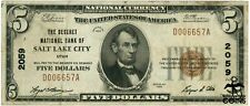 1929 Usa $5 Deseret Salt Lake City, Ut Brown Seal National Currency Note Ch#2059