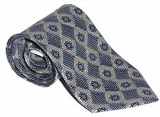 100% Polyester Tie / Men's Necktie - Blue / Grey With English Rose Style Pattern