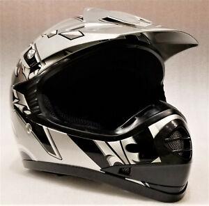 Motocross Helmet Kids, Youth, S, M, L, SILVER, Aust. Std, Dirt bike, quad