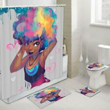 Afro African American Woman Fabric Shower Curtain Toilet Cover Rugs Mat 4Pcs Set