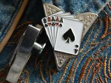 Handcrafted in 925 Sterling Silver Magician Gambling Playing Cards Collar Tips
