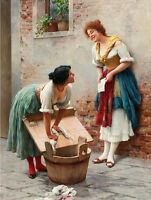 Oil painting Eugene de Blaas Sharing the News young women villagers together
