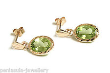 9ct Gold Oval Peridot Drop Earrings Gift Boxed Made in UK