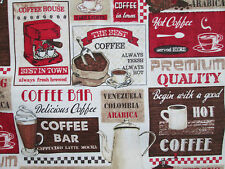 RETRO COFFEE PATCH DINER DRINKS COFFEE BAR COTTON FABRIC 4 INCH CUT