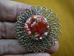 (Z18-1) iridescent red pink sparkle Czech glass button filigree pin brooch