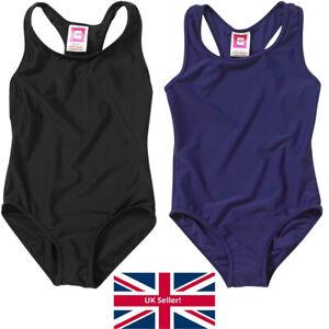 Girls School Sports Swimsuit Plain Black Navy Racer Back Lined 7-13yrs UK Seller