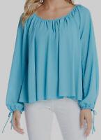 New $160 Karen Kane Women's Blue Scoop-Neck Tie-Sleeve Casual Peasant Top Size M