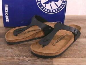 Birkenstock Gizeh Birko-Flor Sandals Thongs 9 Med 40 Shoes Black 0043691 NEW