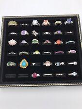 "Sterling Silver 925 Multi Simulated Gemstone Rings Lot ""34""  Sz 7-9"