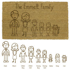 JVL Cartoon Family Personalised Laser Printed Custom Coir Door Mat